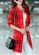 New Jacquard Pattern Cardigan Red