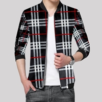 Black Men's Checkered Style Fleece Zipper ZFM-VT-005