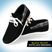 Black Velvet White Lace Sneakers