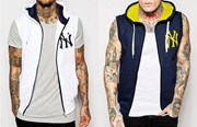 Pack Of 2  Ny Printed Sleeveless Zipper Hoodies SKU-TS-AA-010