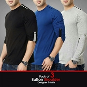 Pack Of 3 Button Style on Shoulder SKU-TS-AA-014