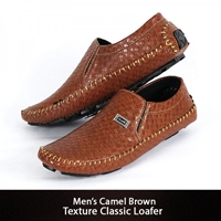 Mens Camel Brown Texture Classic Loafer