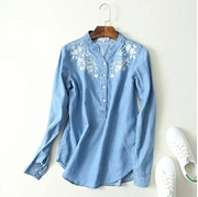 STYLE FLORAL PRINT DENIM MANDARIN COLLAR SHIRT FOR WOMEN