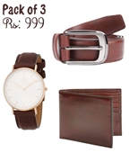 Pack of 3 Genuine Leather Deal in Brown (One Belt, one Watch and one Wallet)