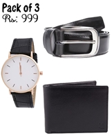 Pack of 3 Genuine Leather Deal in Black (One Belt, one Watch and one Wallet)