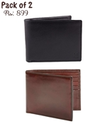 Buy Pack of 2 Genuine Leather Wallets (One Black & One Brown)  online