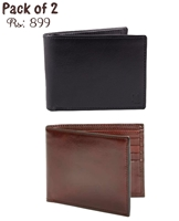 Pack of 2 Genuine Leather Wallets (One Black & One Brown)