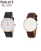 Buy Pack of 2 Watches (One Black & One Brown)  online