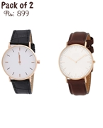 Pack of 2 Watches (One Black & One Brown)