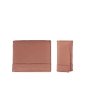 House of Leather - Brown Leather Wallet and Key Ring Set