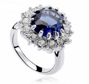 Platinum Plated Blue Pearl Ring