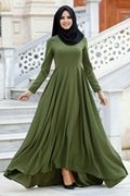 Olive-Green Frock Style Abaya for Women's