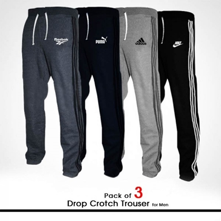 Buy Pack of 3 Drop Crotch Trouser for Men  online