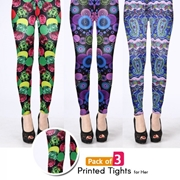 Pack of 3 Printed Tights for Her