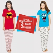 Womens Combo Deal 2 T-shirt 2 Pajamas Design 2