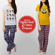 Womens Combo Deal 2 T-shirt 2 Pajamas