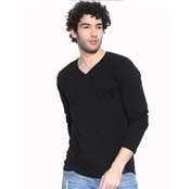 Buy MARDAZ BLACK COTTON V-NECK FULL SLEEVES TSHIRT FOR MEN  online
