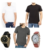 Pack Of Five - Three T Shirts For Men & Two Wrist Watches