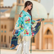 Premium Lawn Collection 2018 ayana v1 Deep Turquoise
