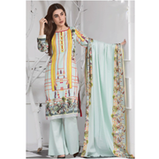 Aqua Green flower Printe Lawn By Misha Design