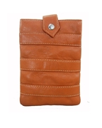 House of Leather -Tan Leather Mobile Pouch with Long Strap