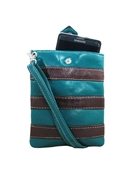House of Leather -Green & Choco Leather Mobile Pouch with Long Strap