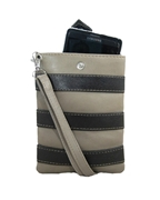 House of Leather - Beige & Black Leather Mobile Pouch with Long Strap