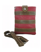 House of Leather - Red & Brown Leather Mobile Pouch with Long Strap