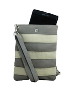 House of Leather - Grey Leather Mobile Pouch with Long Strap