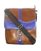 House of Leather - Brown/Purple Leather Square Shape Cross Body Bag
