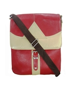 House of Leather - Red/Offwhite Leather Square Shape Cross Body Bag