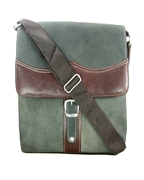 House of Leather - Green/Maroon Leather Square Shape Cross Body Bag