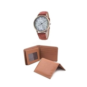 Pack of Three - Mustard Rexine Men Wallet, Card Holder and Watch