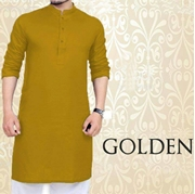 Special Eid Golden Kurta for Mens SKU-SRK-VT-011