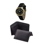 Pack of Three - Black Leather Men Wallet, Card Holder and Watch