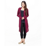 Mardaz Red Viscose Long Shrug For Women