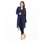 Mardaz Navy Blue Viscose Long Shrug For Women