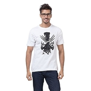 Mardaz White Cotton Printed Wolverine Tshirt For Men