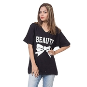 Mardaz Black Cotton Printed T-Shirt For Women