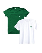 Pack of Two Independence Day White & Green Flag Print T-Shirt for Men