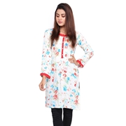Wokstore Garments Cotton Printed Kurti For Women White