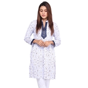 Wokstore Garments Cotton Printed Kurti For Women White WG-003