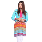 Wokstore Garments Cotton Printed Kurti For Women Sky Blue