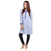 Wokstore Garments Cotton Printed Kurti For Women Sky Blue WG-007