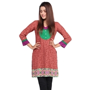 Wokstore Garments Cotton Printed Kurti For Women Red WG-011