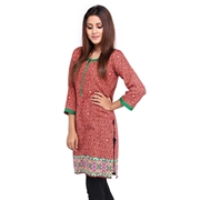 Wokstore Garments Cotton Printed Kurti For Women Red WG-014