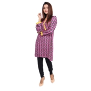 Wokstore Garments Cotton Printed Kurti For Women Pink WG-018