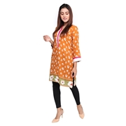 Wokstore Garments Cotton Printed Kurti For Women Orange