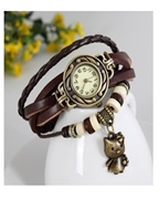 The Shopkeeper Brown Vintage Style Women Wrist Band with Watch