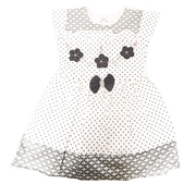 Wokstore Garments Casual Frock For Girls White and Grey